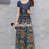 ชุดเดรสเกาหลีพร้อมส่ง Maxi Bohemian Sewing Gene Dress