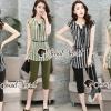 เสื้อผ้าเกาหลีพร้อมส่ง Vintage Green&Black Stripe Set