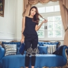เสื้อผ้าเกาหลีพร้อมส่ง Navy Beauty Simple Charming Lady Dress 2470