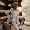 เสื้อผ้าเกาหลีพร้อมส่ง เสื้อแขนสั้นสูท+กางเกง สีครีม