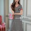 ชุดเดรสเกาหลีพร้อมส่ง V Neck Stripe Dress