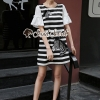 ชุดเดรสเกาหลีพร้อมส่ง Girly Zebra Stripe Knite Tie Eyelet Dress