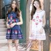 ชุดเดรสเกาหลีพร้อมส่ง Dress คอกลม แขนกุด ชายระบาย เนื้อผ้า cotton 100%