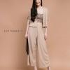เสื้อผ้าเกาหลีพร้อมส่ง เซทเกาะอก+เสื้อคลุม+กางเกงขาวยาวเอวยืด