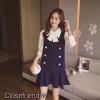 เสื้อผ้าเกาหลีพร้อมส่ง เซท 2 ชิ้น เสื้อ+เดรสคอตตอน