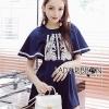 เสื้อผ้าเกาหลีพร้อมส่ง เพลย์สูทแขนบานผ้าเครปสีน้ำเงินปักลายสีขาว