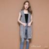 เสื้อผ้าเกาหลีพร้อมส่ง เสื้อคลุมแขนกุดฮูทหลัง งานผ้าไหมพรมถักอย่างดี