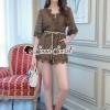 เสื้อผ้าเกาหลีพร้อมส่ง Whiffle Rim Lace Murky Color Playsuit