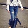 กางเกงยีนส์ ขายาว ทรงเดป ฟอกสวย