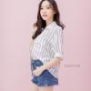 เสื้อผ้าเกาหลีพร้อมส่ง Basic striped เสื้อเชิ๊ตสีขาวลายทาง