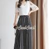 เสื้อผ้าเกาหลีพร้อมส่ง Chic Vee Strip Sirt Concave With Panties Striped pants
