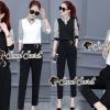 เสื้อผ้าแฟชั่นเกาหลีพร้อมส่ง Smarty Stripe Sleeve Chic Set