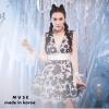 เสื้อผ้าแฟชั่นเกาหลีพร้อมส่ง เดรสแขนยาวผ้าลูกไม้ซีทรูช่วงแขนแต่งโบว์สีขาว