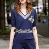 เสื้อผ้าเกาหลีพร้อมส่ง Beely Bee Navy Knitty Set