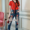 เสื้อผ้าเกาหลีพร้อมส่ง Rosy Tie Chic Denim Flora Stick Set