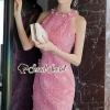 ชุดเดรสเกาหลีพร้อมส่ง Pearly Blossom Pinky Lace Dress