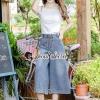 เสื้อผ้าเกาหลีพร้อมส่ง Chic Line Belt Collar Gean Set
