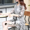 เสื้อผ้าแฟชั่นเกาหลีพร้อมส่ง Foliage Gray Flora Batic Set
