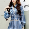 เสื้อผ้าแฟชั่นเกาหลีพร้อมส่ง Chic Stripe Suit Set Korea Style