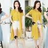เสื้อผ้าแฟชั่นพร้อมส่ง Stylish Lace T- Shirts Blue&Yellow Set
