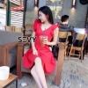 เสื้อผ้าเกาหลีพร้อมส่ง มินิเดรสคุณหนู ใส่รับซัมเมอร์นี้ด้วยสีแดงสดใส