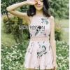 เสื้อผ้าเกาหลีพร้อมส่ง เพลย์สูทขาสั้นสายเดี่ยวสีชมพูอ่อนพิมพ์ลายดอกไม้