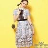 เสื้อผ้าเกาหลีพร้อมส่ง Luxurious Premium Blue Flora Dress