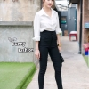 เสื้อผ้าแฟชั่นเกาหลีพร้อมส่ง เซตเสื้อเชิ๊ตขาว+กางเกงเอวสูงขายาว งานจับเซตสวยดูดี
