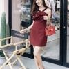 ชุดเดรสแฟชั่นพร้อมส่ง Dressพอดีตัว สีพื้น คอไขว้ สายสามารถปรับได้