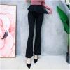 เสื้อผ้าเกาหลีพร้อมส่ง กางเกงขานบานสีดำ (Black) ผ้าโพลีเนื้อทิ้งตัวดูแพง
