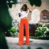 กางเกง สีส้มสะท้อนแสง ทรงกระบอกใหญ่