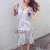 เสื้อผ้าแฟชั่นพร้อมส่ง Premium Blue Sexy Charming Lady Dress