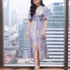 ชุดเดรสเกาหลีพร้อมส่ง Dress SRS ss17 ผ้าซาตินพิมพ์ลาย