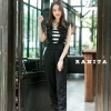 เสื้อผ้าเกาหลีพร้อมส่ง จั้มสูทผ้าสีดำเนื้อดีต้