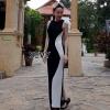 ชุดเดรสเกาหลีพร้อมส่ง Dress ยาวดีเทลสุดเก๋เนื้อผ้าเย็บต่อทูโทน