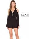 เสื้อผ้าแฟชั่นพร้อมส่ง jumpsuit ตัวสั้นสีดำคอวี