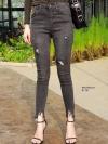 กางเกงยีนส์เอวสูง สีดำฟอกสีสวยมากๆ