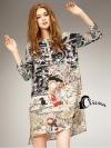 เสื้อผ้าเกาหลี พร้อมส่งเดรสเชิ๊ตพิมพ์ลวดลายวรรณคดีของชาวญี่ปุ่น