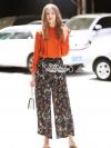 เสื้อผ้าเกาหลีพร้อมส่ง Orangena long sleeve floral printed chic set
