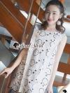 ชุดเดรสเกาหลีพร้อมส่ง Clasper Rosy Lace Dress