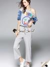 เสื้อผ้าเกาหลีพร้อมส่ง Chic Sporty Screen YHIAMON Stripe Rim Stick Set