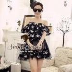 Set Black Swan Open Shoulder blouse together with Skirt