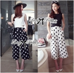 Taylor Fashionable Cut-Out Cropped Top and Polka Dot Culotte