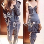 Three Pieces Tropical Hood Sweater With Pants Suit Sets