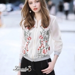 Floral embroidery ivory jacket