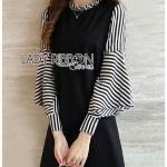 Anna Striped and Plain Black Dress