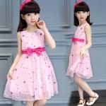 KM4411.ชุดเด็กหญิงไซส์ใหญ่ ชุดเดรสผ้าชีฟองสีชมพูหวาน ไซส์ 140/150/160 เช็คขนาดด้านใน สำเนา