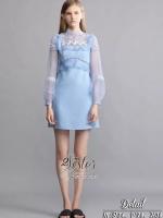 ชุดเดรสเกาหลีพร้อมส่ง เดรสสั้นสีฟ้า ลุคสวยน่ารัก