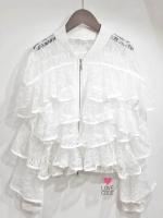 เสื้อผ้าเกาหลีพร้อมส่ง Special Price เสื้อแจ๊คเก็ตลูกไม้สีขาว