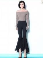 เสื้อผ้าเกาหลีพร้อมส่ง กางเกงเอวสูงทรงปลายขากระดิ่งระบายผ้าชีฟองจอเจียร์สีดำ